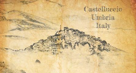 Castelluccio village in Umbria, Italy, sketch on old paper