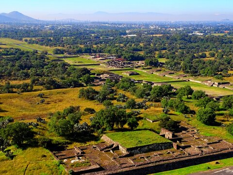 Mexico, Pre-Hispanic City of Teotihuacan, Causeway of the Dead, Pyramid of the Sun and Pyramid of the Moon