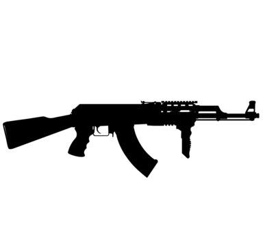 Russian, Soviet fully automatic machine gun 74m ak74m aksu 74 aks 74 aks 74u aks74 ak 47.Silhouette