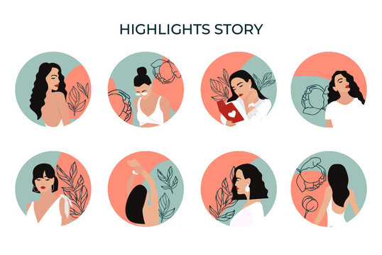 Instagram icons for stories, covers for Instagram highlights. Round elements and icons with woman, floral details for your blog or website.