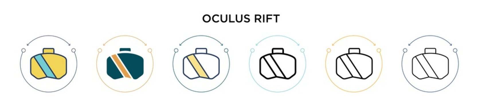 Oculus rift icon in filled, thin line, outline and stroke style. Vector illustration of two colored and black oculus rift vector icons designs can be used for mobile, ui, web
