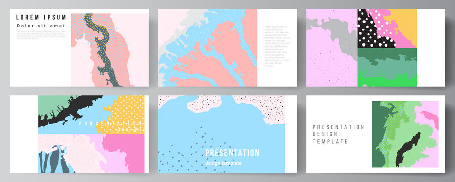 Vector layout of the presentation slides design templates, multipurpose template for presentation brochure, brochure cover. Japanese pattern template. Landscape background decoration in Asian style.