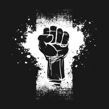 Raised fist illustration, as a symbol for resistance, on black background. Black Lives Matter banner.