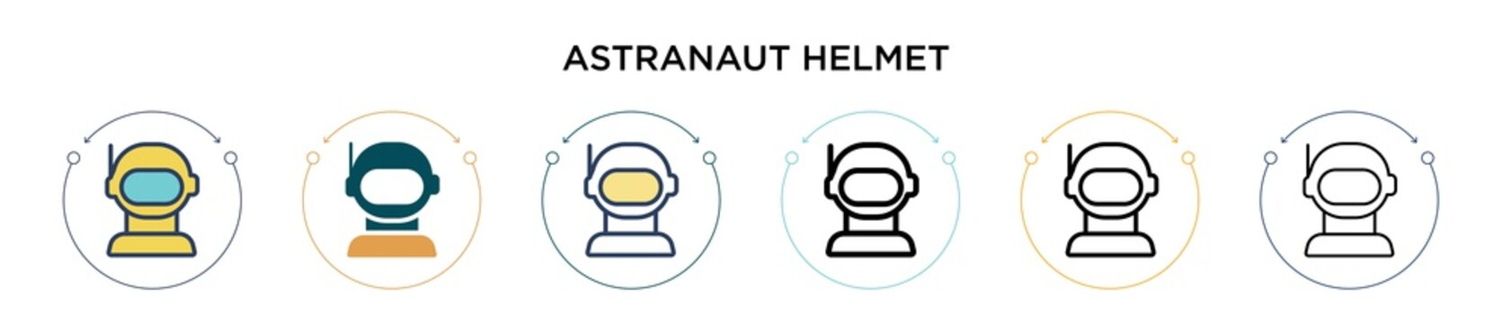 Astranaut helmet icon in filled, thin line, outline and stroke style. Vector illustration of two colored and black astranaut helmet vector icons designs can be used for mobile, ui, web