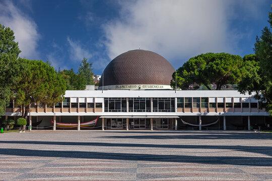 Lisbon, Portugal - October 20, 2019: Planetario de Lisboa Planetarium aka Calouste Gulbenkian Planetarium Astronomy science and universe education. Belem District, Lisbon, Portugal.