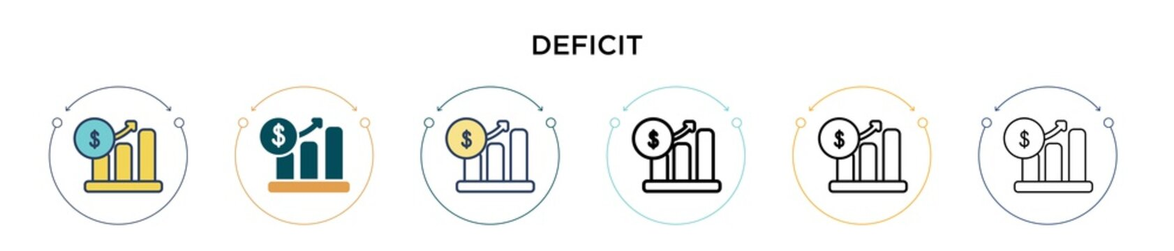 Deficit icon in filled, thin line, outline and stroke style. Vector illustration of two colored and black deficit vector icons designs can be used for mobile, ui, web