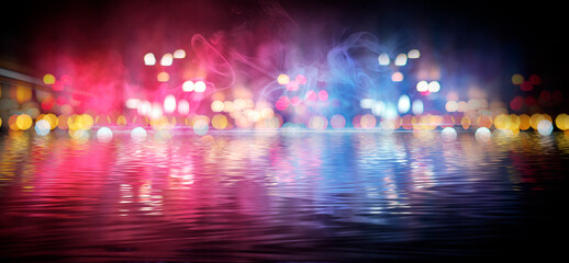 Fotomurales - Dark abstract background with bokeh. Reflection in the water of bright blurry lights. Smoke, fog.