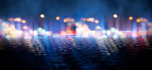 Wall Murals Dark abstract background with bokeh. Reflection in the water of bright blurry lights. Smoke, fog.
