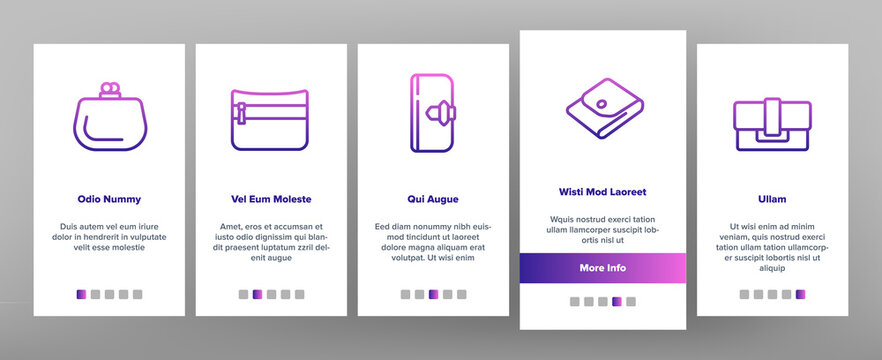 Wallet Accessory Cash Onboarding Mobile App Page Screen Vector. Wallet In Different Style For Storaging Money And Coin, Credit Card And Document Illustrations