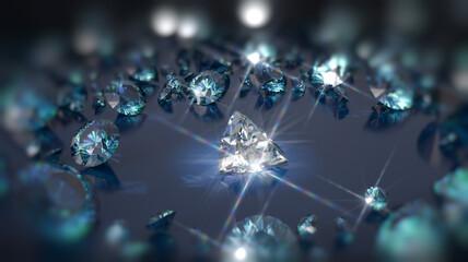 Shining diamonds on deep blue background close up. 3D illustration
