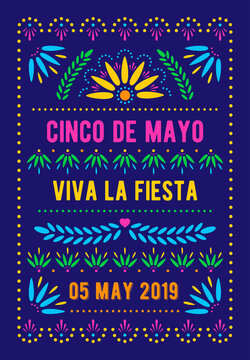 Cinco de Mayo template. Mexican holiday poster. Papel picado banner with floral pattern. Vector greeting card.