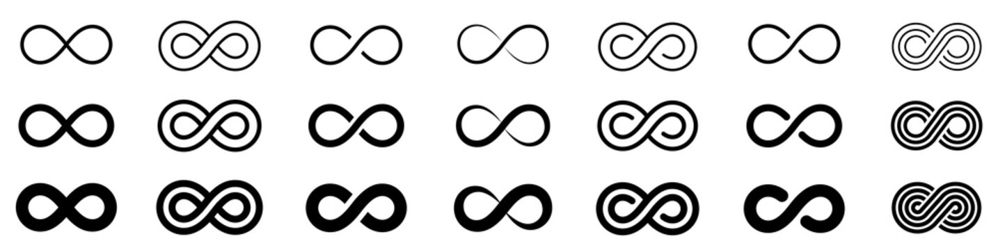 Infinity icon set. Infinity, eternity, infinite, endless, loop symbols. Unlimited infinity collection icons flat style - stock vector