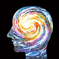 Disegno concettuale illuminazione spirituale, rivelazione. Mente Universale cosmica. Coscienza, intuizione.