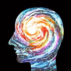 Dipinto acquerello consapevolezza. Ispirazione. Risveglio spirituale. Illuminazione spirituale.