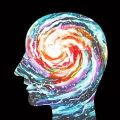 Dipinto acquerello bello mente creativa. Genialità. Forza della mente umana.