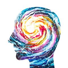 Disegno grafico fede, religione. Mente cosmica. Mente Universale. Forza. Energia vitale. Vita.