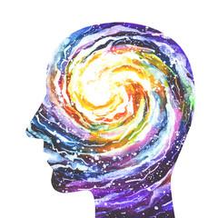 Disegno grafico concettuale, sfondo bianco. Meditazione, rilassamento. Concentrazione, zen. Yoga.