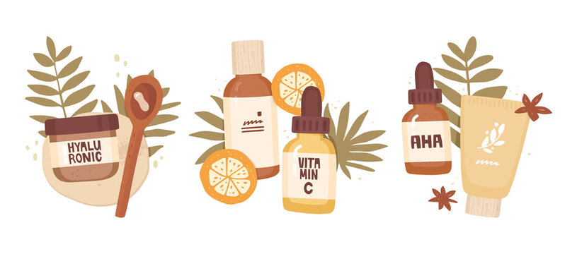 Set of vector hand-drawn illustrations. Cosmetics, tropical leaves. Label inscriptions, hyaluron, aha, vitamin C. Active ingredients in cosmetics, acids, treatment. Beauty consultant, product review