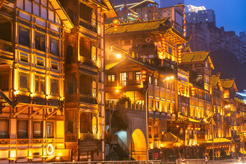 Chongqing, China at Hongyadong  at Twilight