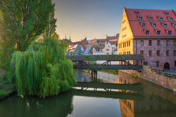Henkersteg in Nuremberg, Germany on the Pegnitz River