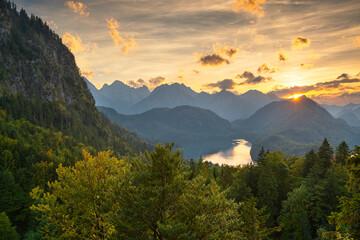 Fototapete - Bavarian Alps landscape in Germany at Dusk.