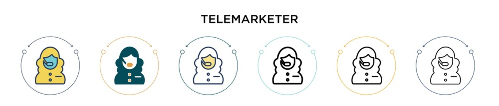 Telemarketer icon in filled, thin line, outline and stroke style. Vector illustration of two colored and black telemarketer vector icons designs can be used for mobile, ui, web