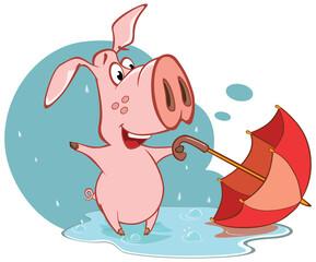Vector Illustration of a Cute Cartoon Character Pig and Umbrella