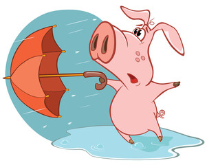 Vector Illustration of a Cute Cartoon Character Pig and Umbrella