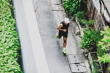 top view of man running