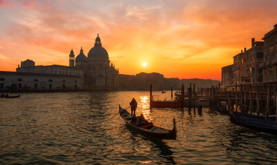 Beautiful sunrise over the canale grande in Venice, italy with the Santa Maria in the background
