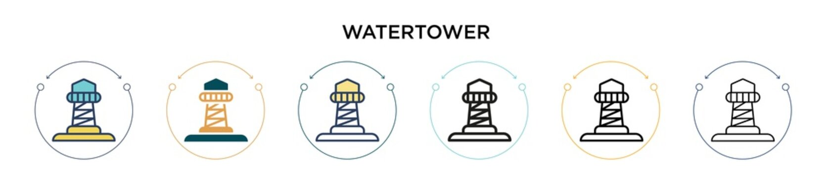Watertower icon in filled, thin line, outline and stroke style. Vector illustration of two colored and black watertower vector icons designs can be used for mobile, ui, web