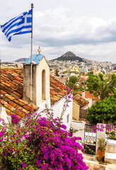 Fototapete - Skyline of Athens, view from Anafiotika in Plaka district, Greece