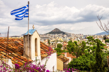 Fototapete - Skyline of Athens, scenic view from Anafiotika in Plaka district, Greece. Plaka is famous tourist attraction of Athens