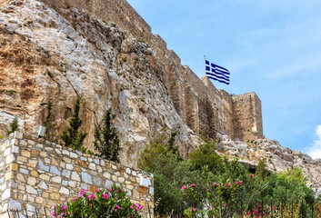 Fototapete - Acropolis with strong medieval fortress walls, Athens, Greece