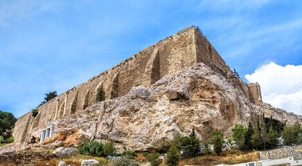 Fototapete - Acropolis with strong medieval walls, Athens, Greece