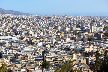 Fototapete - Urban landscape of Athens, Greece. Cityscape of modern Athens, view from Philopappou hill.