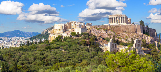 Fototapete - Landscape of Athens with Acropolis hill, Greece