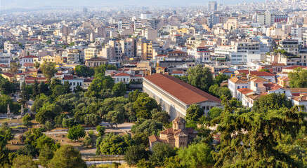 Fototapete - Landscape of Athens, Greece. Aerial panoramic view of Ancient Agora and Stoa of Attalos.