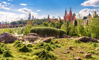 Fototapete - Landscaped design in modern Zaryadye Park near famous Moscow Kremlin, Russia. Zaryadye is new tourist attraction of Moscow