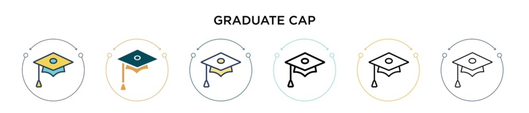Graduate cap icon in filled, thin line, outline and stroke style. Vector illustration of two colored and black graduate cap vector icons designs can be used for mobile, ui, web