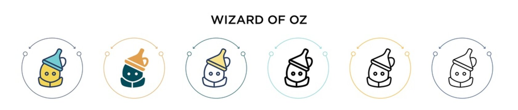 Wizard of oz icon in filled, thin line, outline and stroke style. Vector illustration of two colored and black wizard of oz vector icons designs can be used for mobile, ui, web