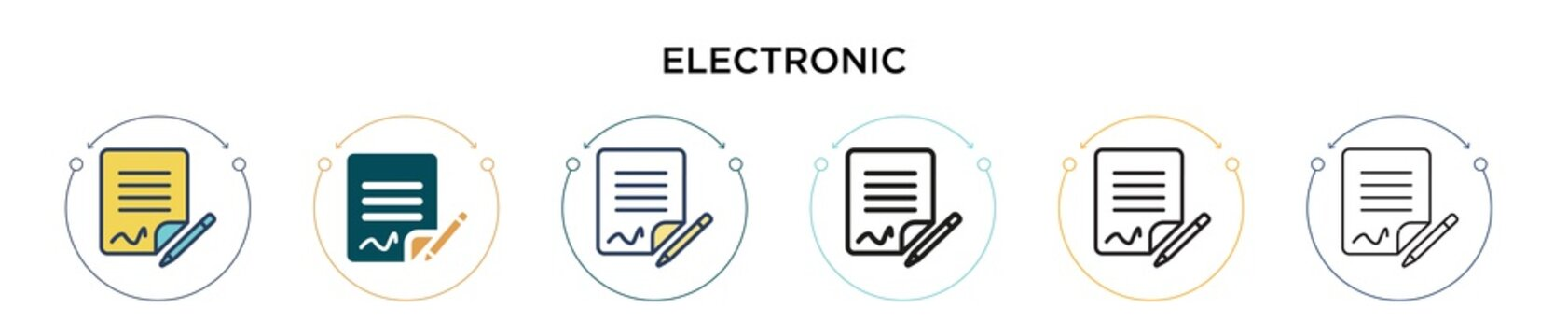 Electronic signature icon in filled, thin line, outline and stroke style. Vector illustration of two colored and black electronic signature vector icons designs can be used for mobile, ui, web