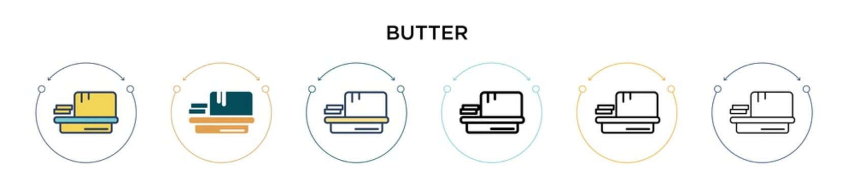 Butter icon in filled, thin line, outline and stroke style. Vector illustration of two colored and black butter vector icons designs can be used for mobile, ui, web