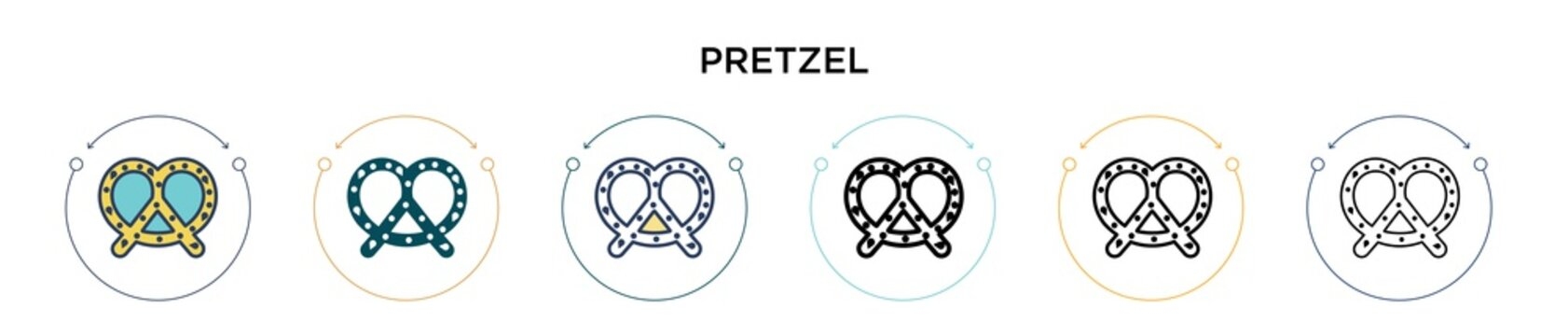 Pretzel icon in filled, thin line, outline and stroke style. Vector illustration of two colored and black pretzel vector icons designs can be used for mobile, ui, web