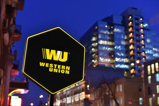 Kiev / Ukraine - 01.22.18: Sign of The Western Union Company