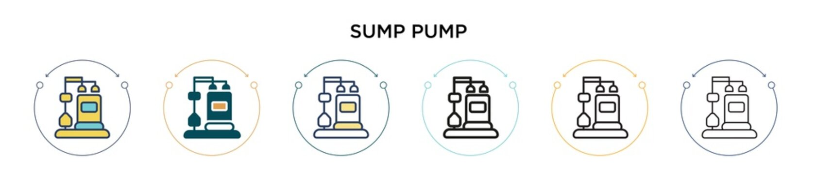 Sump pump icon in filled, thin line, outline and stroke style. Vector illustration of two colored and black sump pump vector icons designs can be used for mobile, ui, web