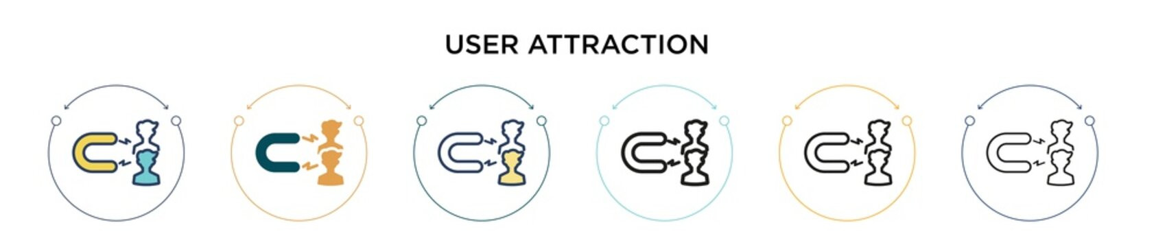 User attraction icon in filled, thin line, outline and stroke style. Vector illustration of two colored and black user attraction vector icons designs can be used for mobile, ui, web