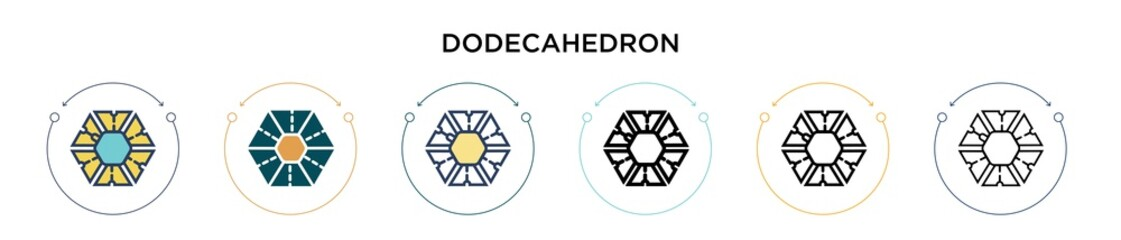 Dodecahedron icon in filled, thin line, outline and stroke style. Vector illustration of two colored and black dodecahedron vector icons designs can be used for mobile, ui, web Papier Peint
