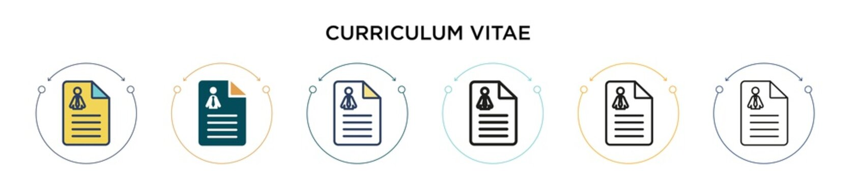 Curriculum vitae icon in filled, thin line, outline and stroke style. Vector illustration of two colored and black curriculum vitae vector icons designs can be used for mobile, ui, web