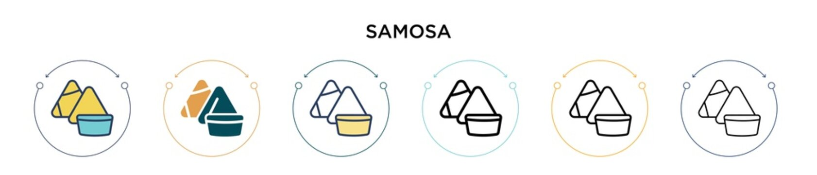 Samosa icon in filled, thin line, outline and stroke style. Vector illustration of two colored and black samosa vector icons designs can be used for mobile, ui, web